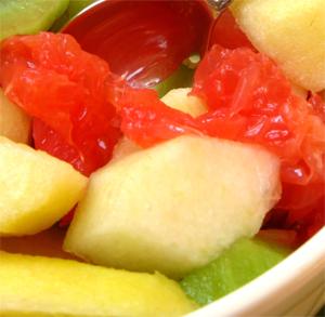 Brocheta de mango y langostinos