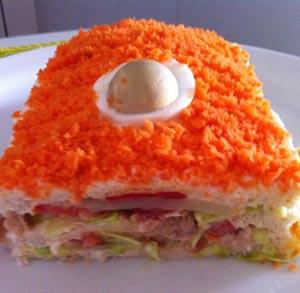 receta gratis pastel sandwich vegetal
