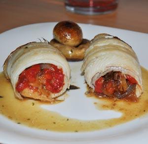 receta gratis rollitos lenguado cebolla caramelizada