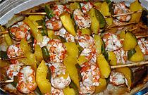 receta de cocina de borcheta de mango y langostinos