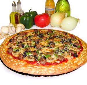 receta gratis de pizza con salchichas y champiñones