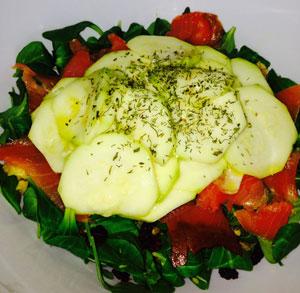 receta cocina ensalada calabacin salmon pasas