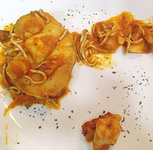 receta gratis merluza salsa zanahoria gulas gambas pulpo