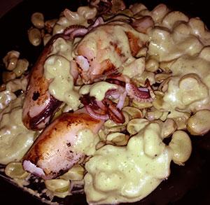 receta gratis calamares vinagreta aguacate gambas
