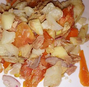 Wrap de crema de coco, mascarpone y mango
