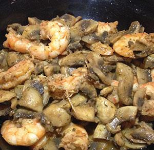 receta facil langostinos con champiñones y salsa de jengibre