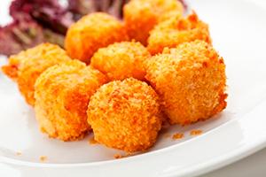 receta facil bolas queso y jamon con panko