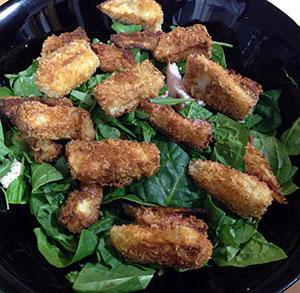 receta facil ensalada templada con berenjena crujiente
